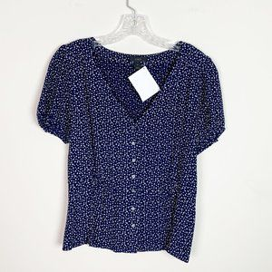 J.Crew | star print button front blouse blue 4